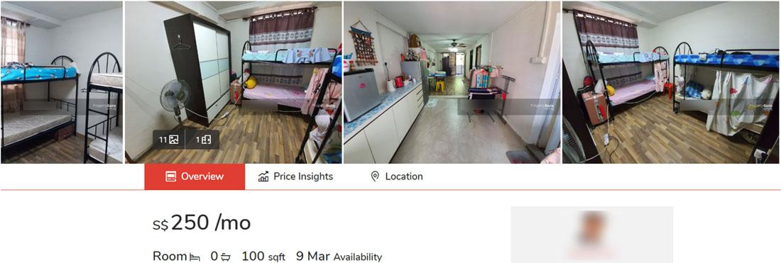 Singapore Rent $250 per Month