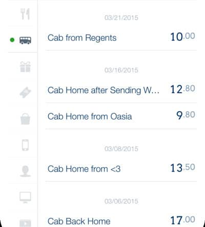 March 2015 Cab Expenses