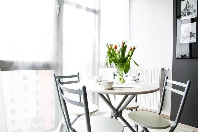 A dining table in an apartment.
