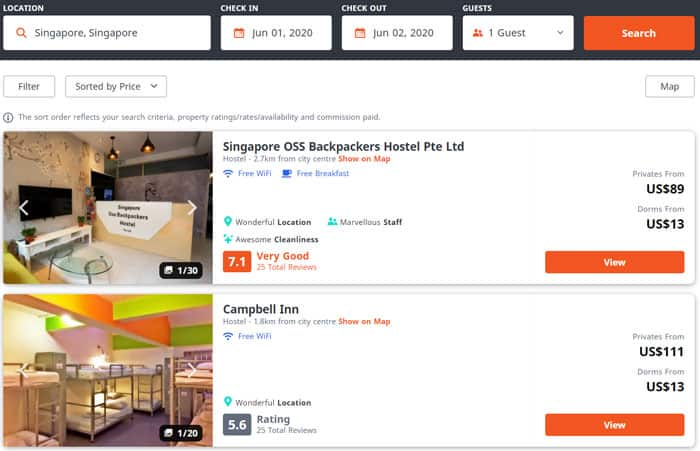 Hostels in Singapore go for as little as US$13 a night.